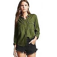 C.Cozami Women's Regular Fit Double Pocket Casual Shirt