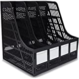 SAYEEC Sturdy Desktop 4 Sections Plastic Magazine Holders Frames File Dividers Document Cabinet Rack Display and Storage Orga