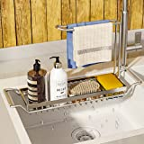 WeChip organisateur de cuisine porte-éponge,304 inox support de panier de vidange de stockage extensible,support d'évier téle