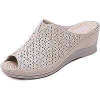 Femme Mules à Talons Compensees Sandales Bout Ouvert Cuir Pantoufles Plateforme Mode Chaussures d'été Confortables 35-41…