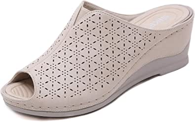 Pantofole in Pelle Donna Ciabatta con Plateau e Zeppa Moda Sandali Punta Aperta Estate 35-41 EU