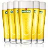 HEINEKEN | Vasos de cerveza | Elipse | Juego de 6 | 25 cl | 250 ml | Copas de media pinta | Logo verde