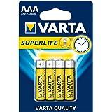 VARTA Superlife 10500403 zink-koolstofbatterij AAA/R03 met 1,5 volt, set van 4, capaciteit 800 mAh, ideaal voor apparaten met