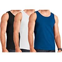 Mens 3 Pack Vest 100% Cotton Gym Training Tank TOP T Shirt MESH Sleeveless Summer Gym