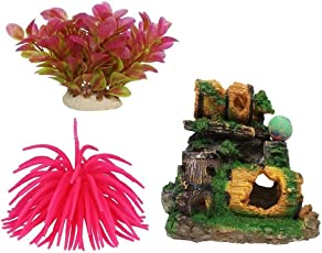 Jainsons Pet Products Aquarium Decoration Combo Of 3 Items, Sea Anemone, Plant & Broken Barrel