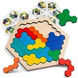 Coogam en Bois Hexagone Puzzle - Forme Bloc Tangram Casse-tête Jouet Géométrie Logique IQ Jeu STEM Montessori Cadeau Éducatif