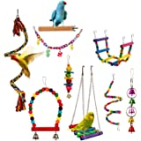 Bird Parrot Toy Hanging Bell Pet Cage Swing Toy Wooden Stand Perch Chewing Toy Bridge Ladder Spiral Rope for Parakeets Small