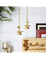 Two Moustaches Brass Peacock Hanging Diya Set By Two Moustaches