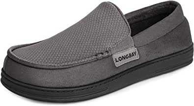 LongBay Men's Comfort Memory Foam Moccasin Slippers Breathable Upper Indoor Outdoor House Shoes