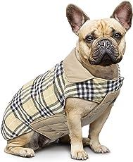 IREENUO Hund umkehrbar Schottenkaro Mantel Herbst Winter warme gemütliche Weste Britischen Stil Hund gefütterte Jacke für Kleine Mittlere große Hunde