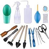 Gxhong Kits D'outils de Jardinage Intérieur, 16 Petits Transplantation Succulente Outils Mini Outils Bonsaï, avec Sécateur Ci