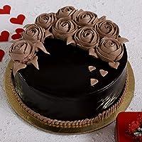 Ferns 'N' Petals Chocolate Rose Designer Cake Half Kg  Birthday Cake  Anniversary Cake Next Day Delivery