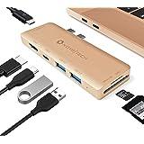 NOV8Tech Adaptador Delgado USB C a HDMI 7-en-2 para MacBook Air 2020 M1 2019/2018 Dorada, Estacion de Acoplamiento, Lector UH
