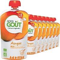 Good Goût - BIO - Gourde de Purée de Fruits Mangue dès 4 Mois 120 g - Pack de 8