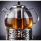Zoë&Mii 1500 ml szklany dzbanek do herbaty z pokrywką, szklany dzbanek i podgrzewacz, do herbaty liściastej – prezent – zapar