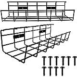 Untertisch- oder Wandmontage, schraubbar, verstaut Kabel, Ladeger/äte, Netzteile, Steckdosenleisten, schwarz Kabelkorb aus Metall 2er-Pack KD Essentials Kabelhalterung /& Kabelkanal