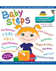 Baby Steps (Indian Version) Pack Of 12 Dvd'S (Age 1 - 5Yrs):  Pre Nursery, 123'S,Abc'S, Hindi Alphabets,Animals,Shapes & Colors, Left Brain, Right ... To Talk, Play, Fun & Learn, Good Manners