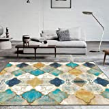 Vintage Area Rug Large Soft Touch Printed Geometric Morocco Floor Mat Large Carpet for Living Room Bedroom (Rectangular,80 x