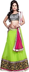 Florely Women's Faux Georgette Lehanga Choli (Green_chitrangada _Green_ Free Size)