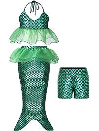 c021094ba77e4 AmzBarley Girls Mermaid Tail Kids Swimmable Swimsuit Princess Ariel  Dressing up Costume Child Fancy Party Dress