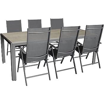 Gartengarnitur, Aluminium Gartentisch Mit Polywood Tischplatte 205x90cm +  6x Aluminium Hochlehner Mit Textilenbespannung, 7 Fach Verstellbar,  Klappbar, ...