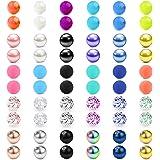 Briana Williams 60 Pezzi Palline Piercing di Ricambio 16G 3mm Acciaio Chirurgico Acrilico Labbro Anello Sfere Palline Gioiell
