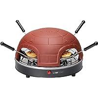 Clatronic PO 3681 Elektrischer Pizzaofen für 4 Personen, Terrakotta-Haube, Rezeptvorschläge, inklusiv Ausstechform, 900…