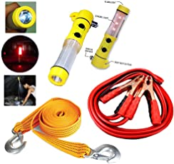 KOZDIKO 3 Ton 2.65m Nylon Towing Cable, 500A Jumper Booster Cables, 5-in-1 Window Glass Breaker, Hammer