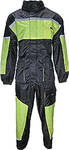 HEYBERRY Motorrad Regenkombi Regenhose Regenjacke schwarz neon grün Gr. 2XL