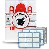 Bonuspack 20x CleanMonster Staubsaugerbeutel für Siemens Z 3.0 VSZ3B212 / VSZ31455 + 2X Motorfilter + 1x Microfilter (ausreichend für 5 Zuschnitte) - kompatibel zu Swirl S62 / S67