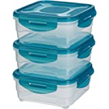 AmazonBasics Food Storage Containers , 0.8 Litres, Set of 3, Multicolor