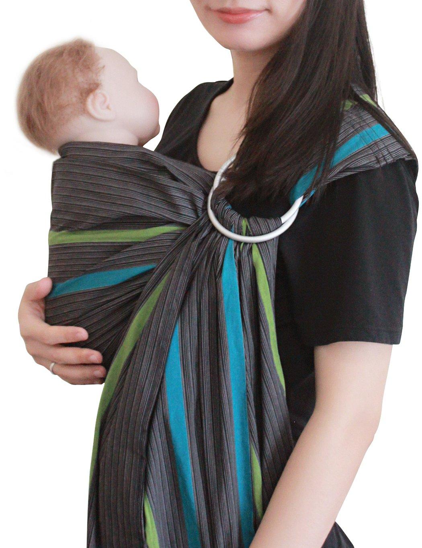 Vlokup(TM) Wrap Original 100% Cotton Adjustable Baby Carrier Infant Lightly Padded Ring Sling Grey Rainbow  Guangzhou Qunce Trading Co.,Ltd