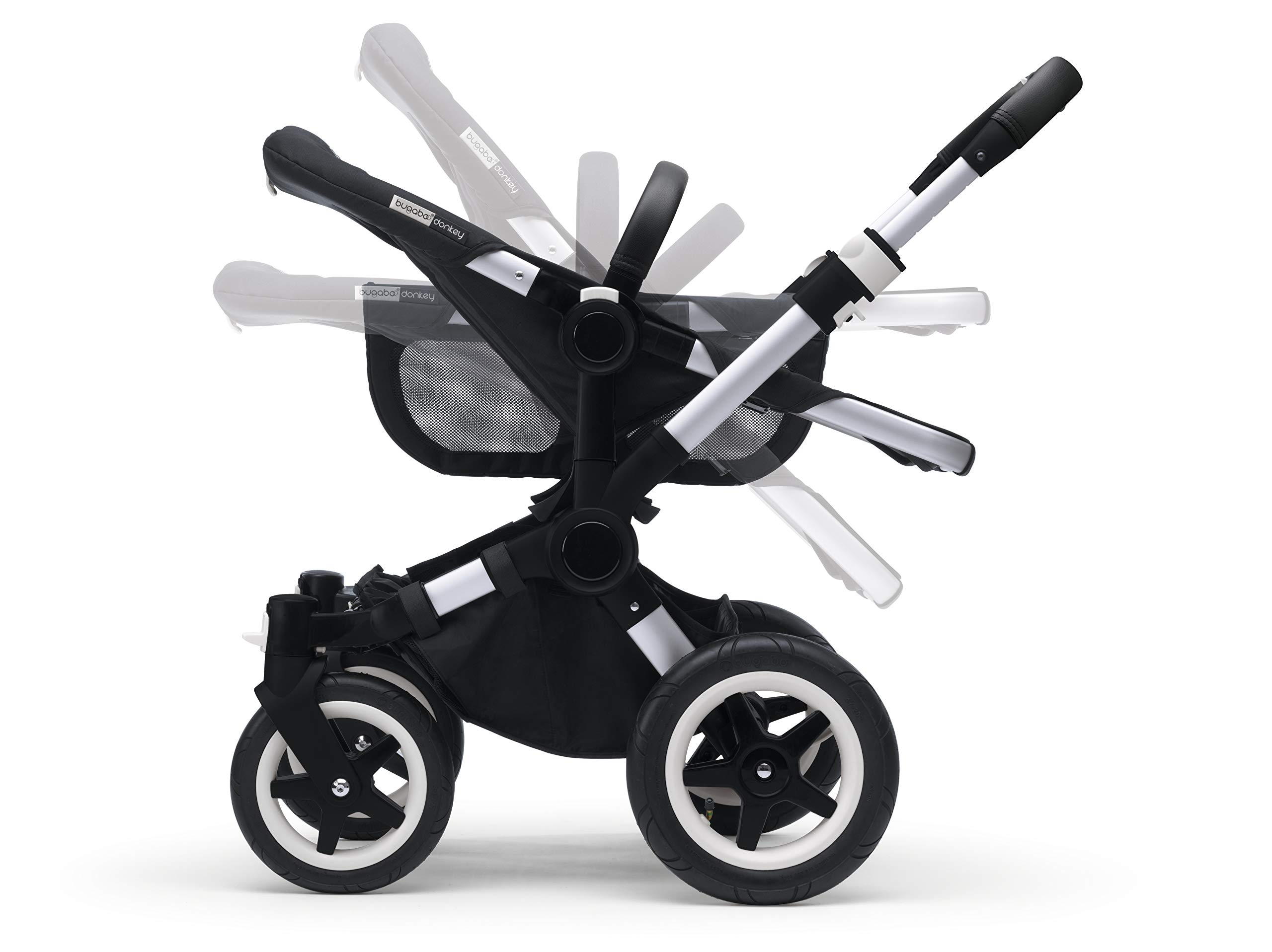 Bugaboo Donkey 2 Mono, 2 In 1 Pram and Pushchair, Extends Into Double Stroller, Black/Soft Pink Bugaboo The name donkey says it all; it's the bugaboo pushchair with the most storage space The bugaboo donkey2 mono can be easily extended to create even more space in the expandable side luggage basket & underseat basket Use extension sets to convert the bugaboo donkey2 mono into a duo or twin pushchair in just three clicks (extension sets sold separately) 6