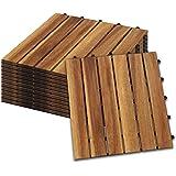 Hengda Houten Tegels 22 stuks Splicing vloer Balkon Terras ca. 2qm acaciahout FSC®-Gecertificeerd Tegels van 30 x 30 cm