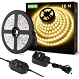 Lepro 10M LED Strip Lights Kit, Dimmable, Soft Warm White 3000K, Plug and Play LED Tape for Bedroom, Kitchen Cabinet, Mirror