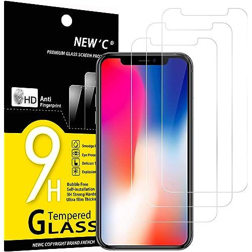 NEW'C 3 Pezzi, Vetro Temperato Compatibile con iPhone 11 PRO e iPhone X e iPhone XS, Pellicola Prottetiva Anti Graffio, Anti-Impronte, Durezza 9H, 0,33mm Ultra Trasparente, Ultra Resistente