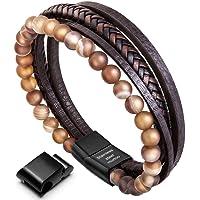 murtoo Armband Herren Leder Armband Naturstein Geflochtenes Armband aus schwarzer Onyx Wunderbar Geschenk Fuer Herren