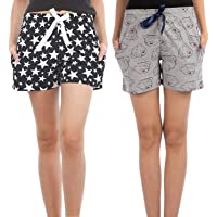 NITE FLITE Women's Cotton Shorts Combo- Pack of 2 (Star and Bear)