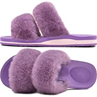 COFACE Ladies Fur Sliders Fluffy Orthotic Slippers for Women Arch Support Open Toe Plush House Slides Memory Foam Flat…