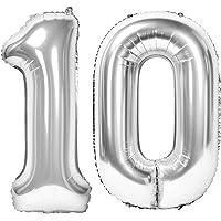 Siumir Numéro Ballons Ballons Chiffre en Argent Numéro 10 Géant Feuille Ballons Fête d'anniversaire Ans Anniversaire…
