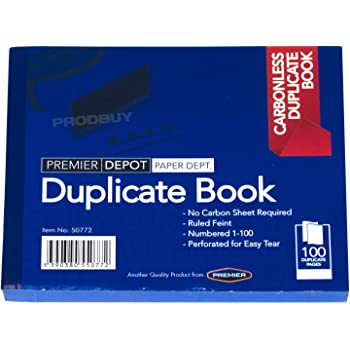 Duplicate Book Feint Ruled Numbered 1-100 Pages Pad Carbon
