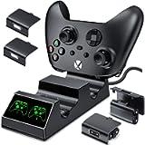 BEBONCOOL Batteria Controller per Xbox One,Controller Stazione di Ricarica con 2 x 1200mAh Batterie per Xbox One…
