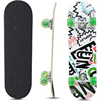 Baybee Wooden Skateboard with Colorful LED Light Up Wheels - Skateboard Complete Longboard Double Kick Skate Board Cruiser 7 Layer Maple Deck for Extreme Sports and Outdoors (Green)