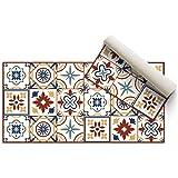 DON LETRA Alfombra Vinílica de Baldosas para Salón y Cocina, 80 x 40 cm, Antideslizante y Lavable, Grosor de 2 mm, Color Beig