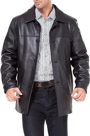 BGSD Men's Samuel New Zealand Lambskin Leather Car Coat (Regular, Big & Tall and Short)