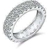 Semplice anello da sposa 2 row pave cubic zirconia CZ anniversary per donna 925 sterling silver