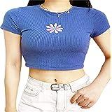 Top Corto da Donna Manica Corta Girocollo Manica Corta Casual Stampa Cartone Animato t-Shirt Aderente Magliette estive Y2K e-