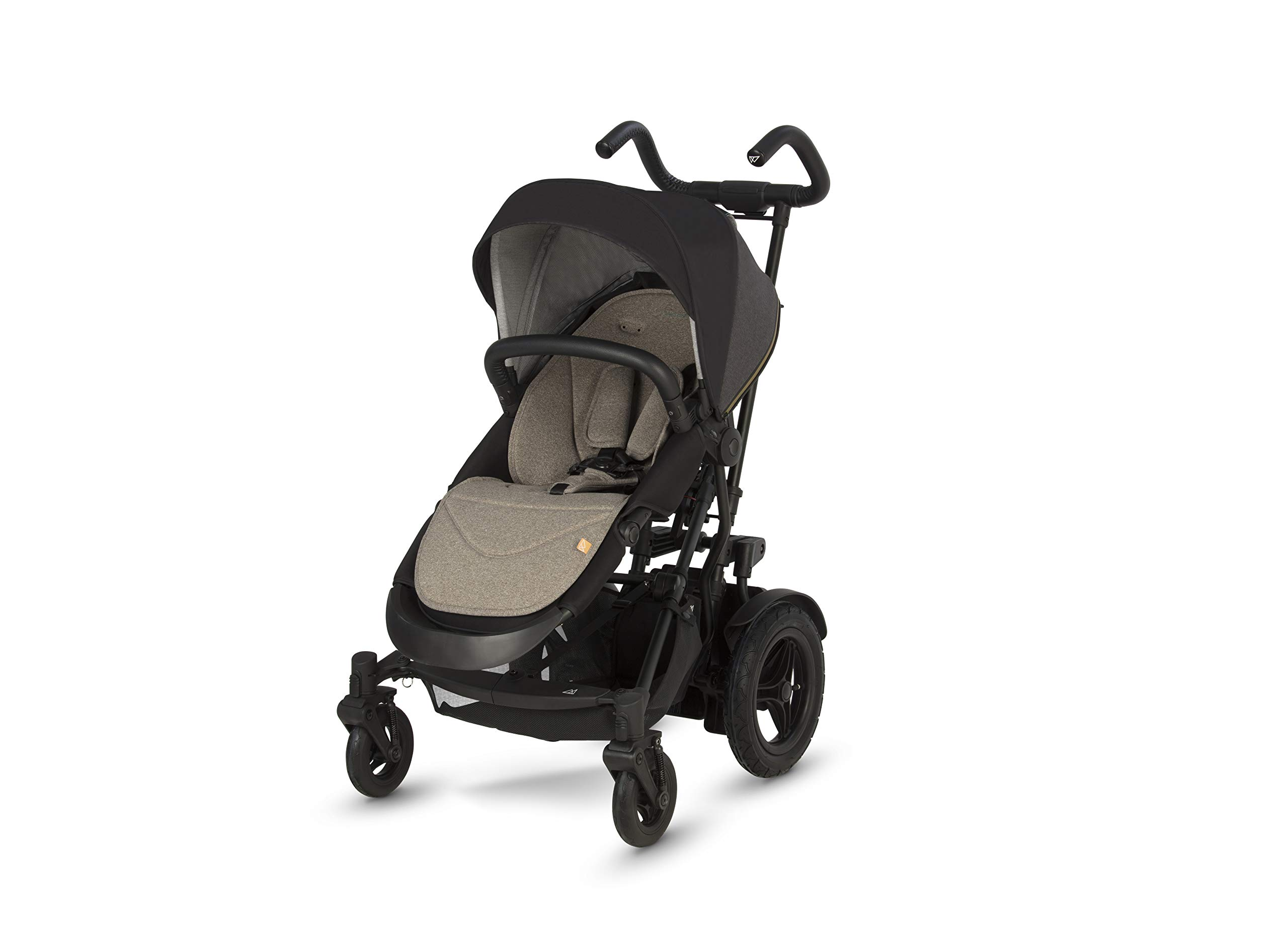 Micralite TwoFold Pushchair - Carbon. Suitable from 6 Months to 4 Years. Add Carrycot to Convert to Travel System Micralite QUICK FOLD - The TwoFold folds into one piece, with one movement. Once folded it free stands for ease of storage at home or out and about. To transport when not in use simply drag it along behind you. ALL-TERRAIN WHEELS - Large air filled back tyres, high mud guards and great ground clearance mean you can still go anywhere even with two in tow. You don't have to worry about getting a puncture either as the pneumatic tyres are lined with Kevlar - the same fibre used in bullet proof vests! WEATHERPROOF FABRICS - Dressed with signature Micralite high quality weatherproof fabrics, the hood of the TwoFold turns water just aswell as it deflects the sun's harmful rays. We also include a storm cover for more extreme weather - so nothing can stop you and your little one from getting out there. 1