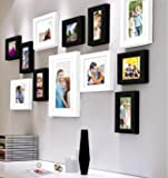 Art Street Decorative Nebula Individual Set of 12 Black & White Wall Photo Frames Wall Picture Frame with Free Hanging Accessories ||Mix Size||4X6-7 Unit, 6X8-4 Units, 8X10-1 Unit||