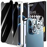 EGV [2+2 Pack] Protector Pantalla Compatible con iPhone 12 Pro (6.1 Pulgadas), 2 Pack Protector de Pantalla de Privacidad y 2